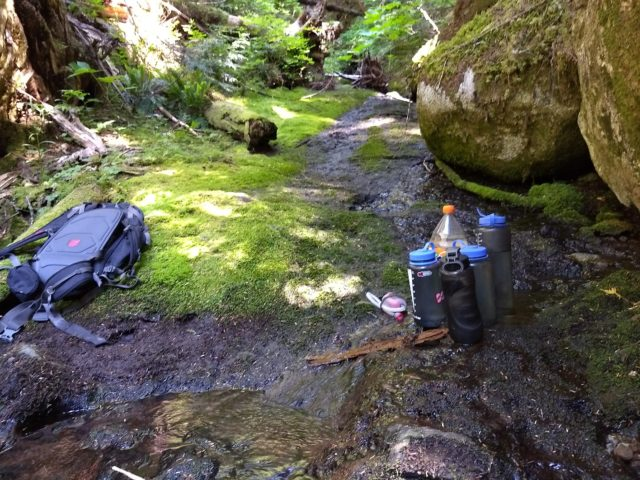 Full water bottles by a stream.